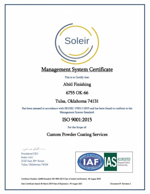 ABITL Finishing ISO 9001 2015 Certificate of Registration 2019