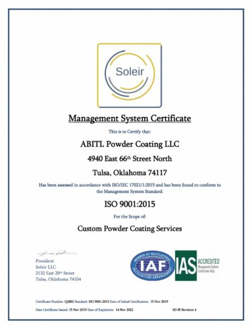 ABITL-Powder-Coating-ISO-9001-2015-Management-System